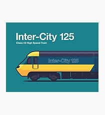 Iconic Trains - InterCity 125 High Speed Train Side Profile Green Photographic Print