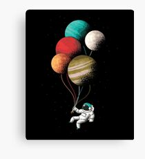 Astronaut with Balloon Planets Canvas Print