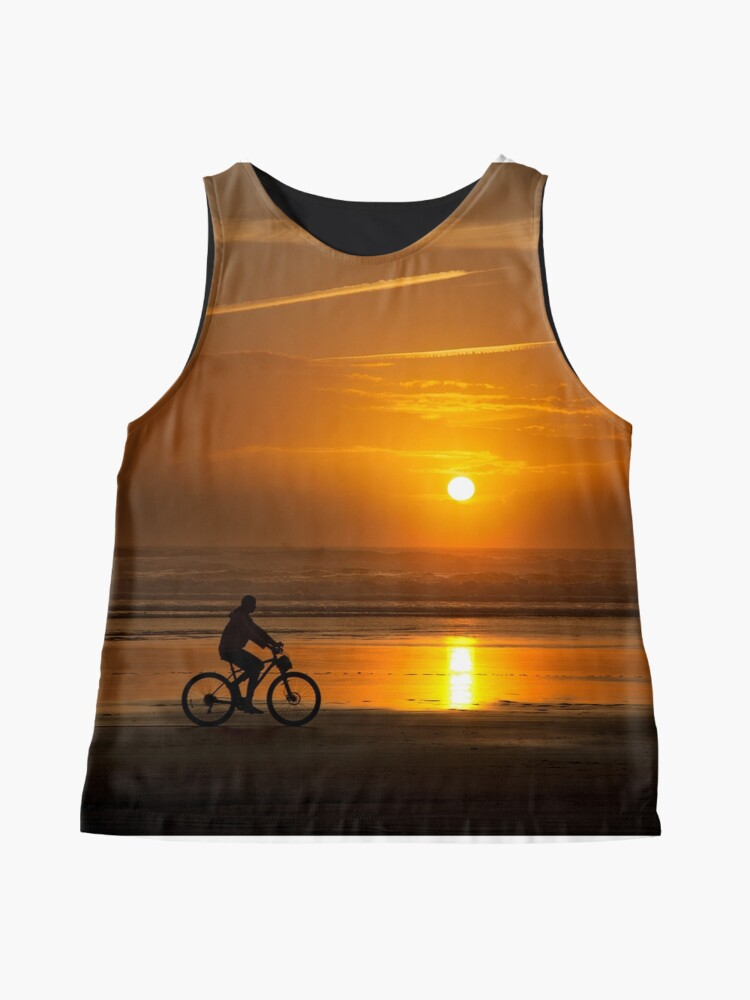 Alternate view of Silhouette of a cyclist along Cannon Beach Oregon Sleeveless Top