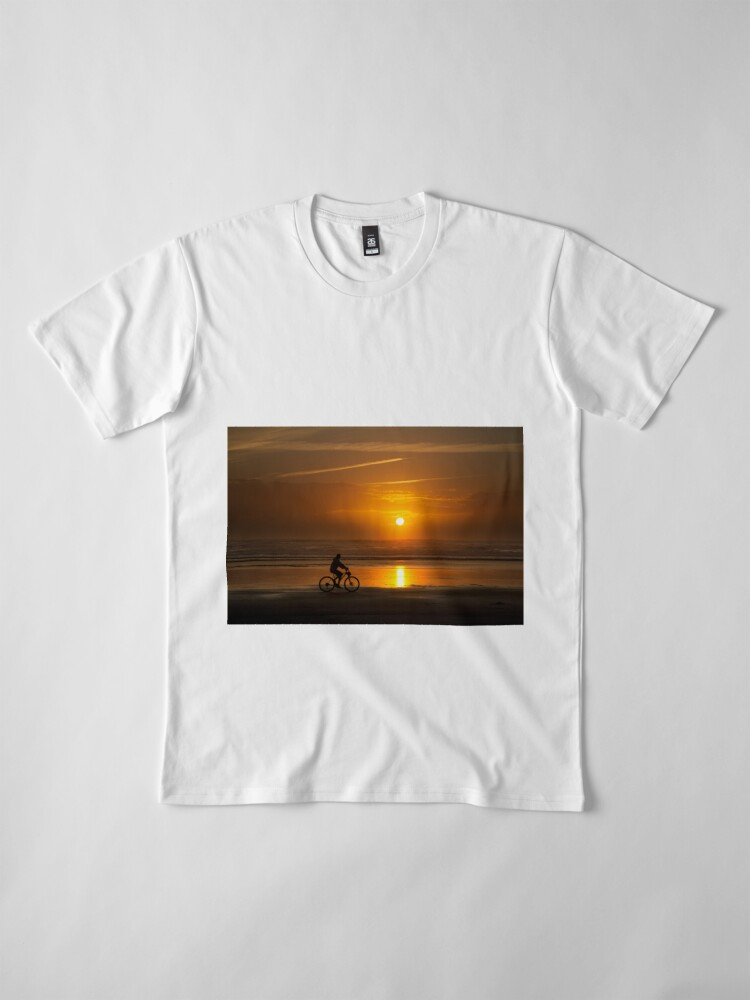 Alternate view of Silhouette of a cyclist along Cannon Beach Oregon Premium T-Shirt
