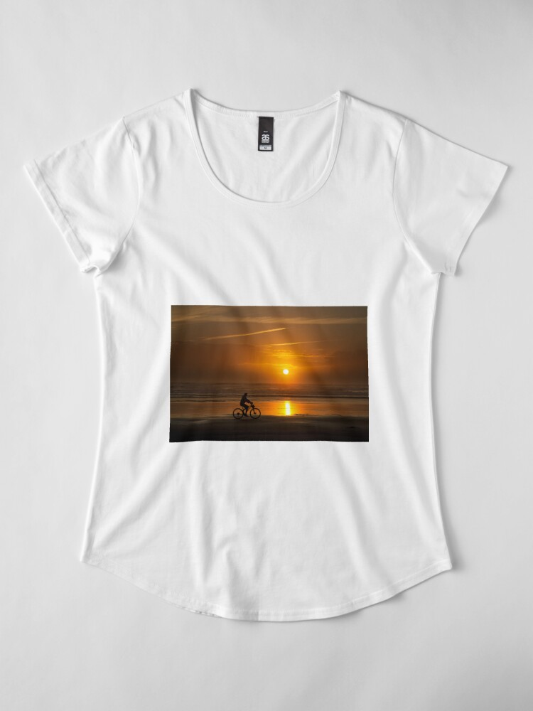 Alternate view of Silhouette of a cyclist along Cannon Beach Oregon Premium Scoop T-Shirt