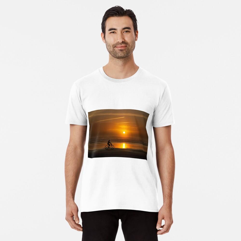 Silhouette of a cyclist along Cannon Beach Oregon Premium T-Shirt