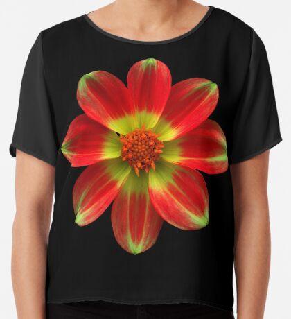 wunderschöne gelb rote Blume, Blüte, Natur Chiffontop für Frauen