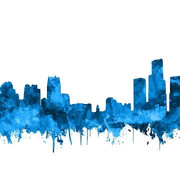 detroit skyline blue by BekimART