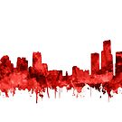 detroit skyline red by BekimART