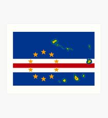 Cape Verde Cabo Verde Flag with Cabo Verdean Flag Art Print