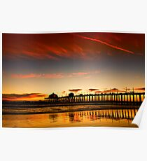 Red sky at sunset Poster