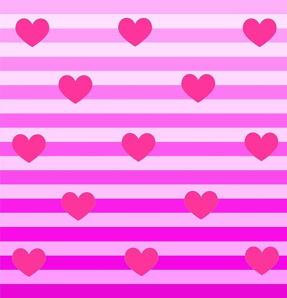 Pink Stripes With Hearts by little-my