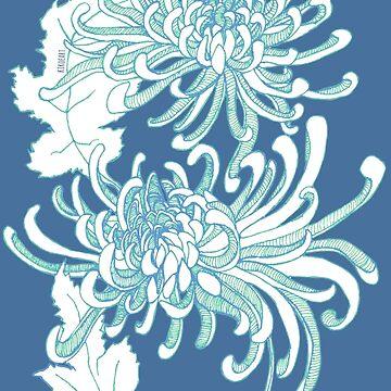 Chrysanthemum Infinity - Green and Blue by kikoeart