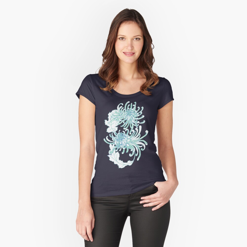 Chrysanthemum Infinity - Green and Blue Fitted Scoop T-Shirt