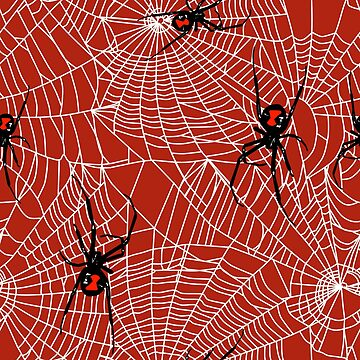 Black Widow Spiders and Webs Pattern on Red by sandpaperdaisy