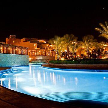Egypt. Hurghada. Fort Arabesque Resort Hotel at night. by vadim19