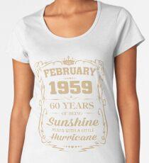 Camiseta premium para mujer Febrero de 1959 sol mezclado huracán