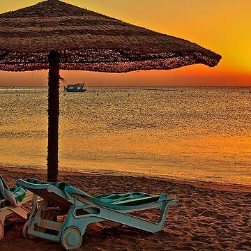 Egypt. Hurghada. Fort Arabesque. Sunrise on the Beach. by vadim19