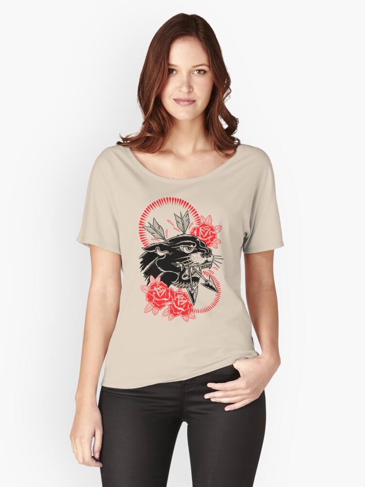 Survivor Red Rose Panther Tattoo Women's Relaxed Fit T-Shirt Front
