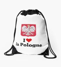 I love la pologne Drawstring Bag