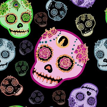 Sugar Skulls in Candy Colors - Pattern by sandpaperdaisy