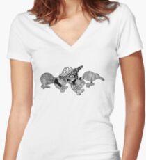 Black & White Kiwis Women's Fitted V-Neck T-Shirt