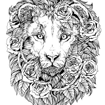 Lions and roses - Black and white by plaguedog