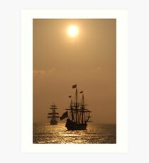 "Kalmar Nyckel and Gorch Fock II: ""Dawn Gold""  Art Print"