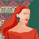 Redhead girl in front of moroccan style motifs by Anyeva