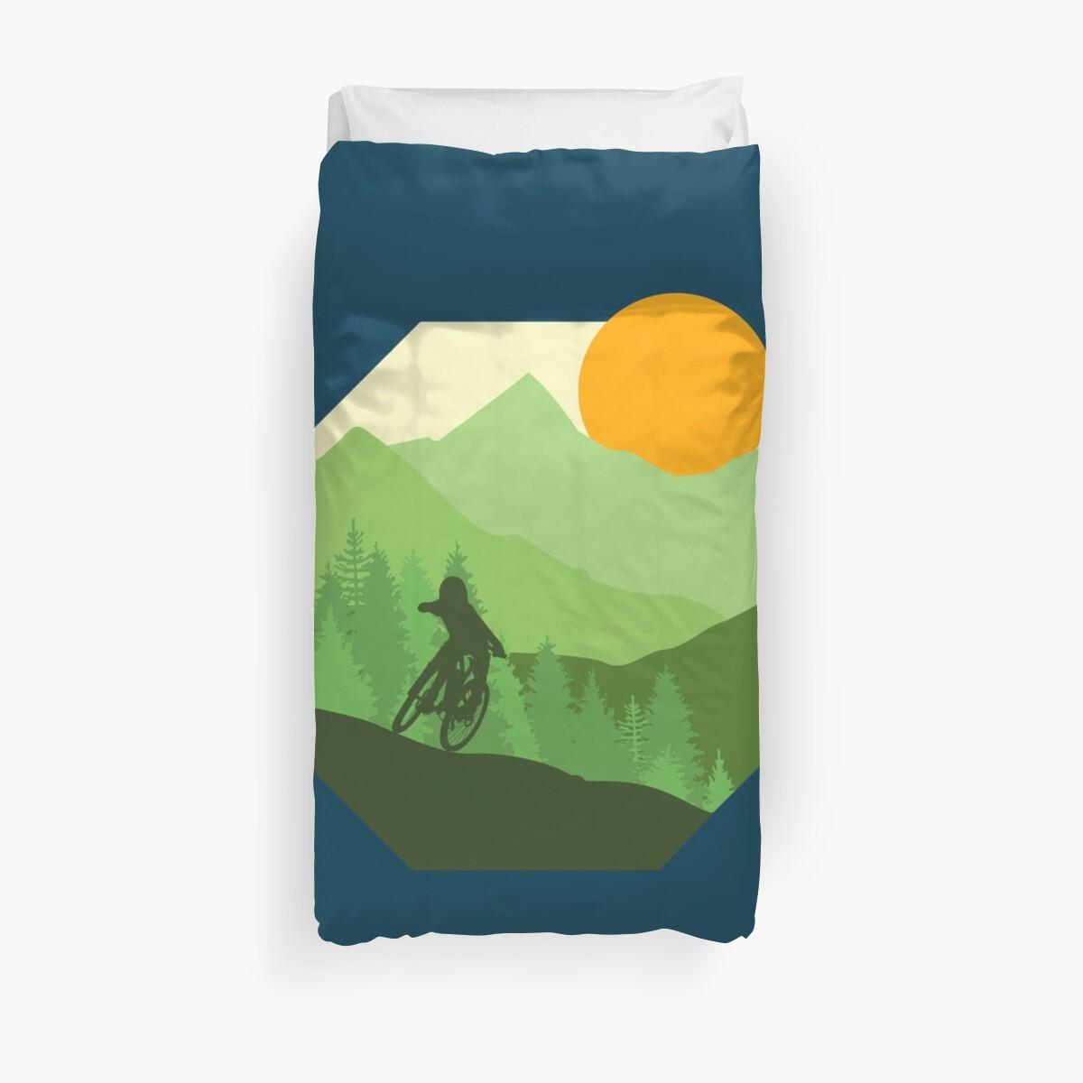 Adventure Ride Ride More Mountain Biking Duvet Cover