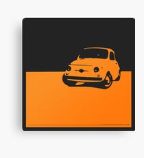 Fiat 500, 1959 - Orange on black Canvas Print