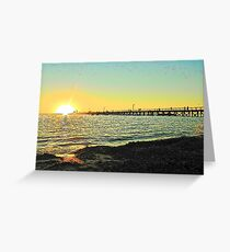 Sunset on Moonta Jetty Greeting Card