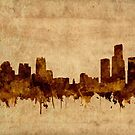 detroit skyline sepia by BekimART