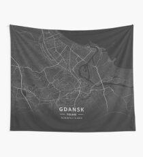 Gdansk, Poland Dark Map Wandbehang