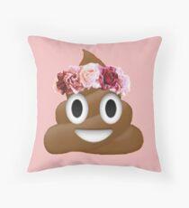 flower crown poop emoji hipster tumblr Throw Pillow
