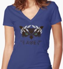 Athena's Owl II - Silver Variant Women's Fitted V-Neck T-Shirt