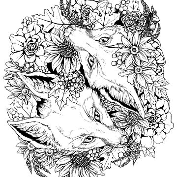 Autumn Fox Bloom - Black and White by plaguedog
