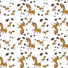 Giraffes Falling leaves by hdettman