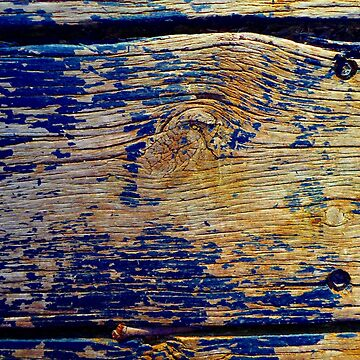 Wood Plank in Bright Blue and Yellow - Horizontal by KeksWorkroom