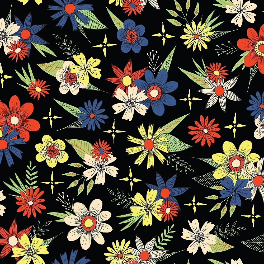 Retro Style Bright Floral Pattern On A Black Background By Stacey