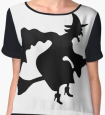 Witch on a Broom #silhouette #illustration #deer #isolated #white #black #bull #christmas #vector #reindeer #nature #witch #wildlife #rhino #horns #wild #elk #art #cartoon #design #mammal #head Chiffon Top