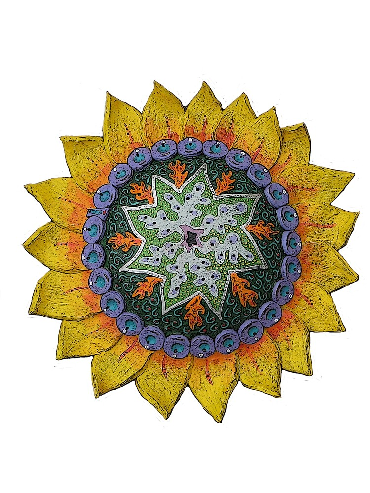 Sun Sunflower Mandala Original Print Design by KFStudios