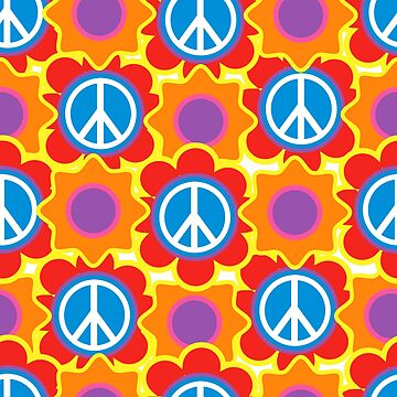 Background in the style of 60x. Psychedelic seamless pattern.  by TrishaMcmillan