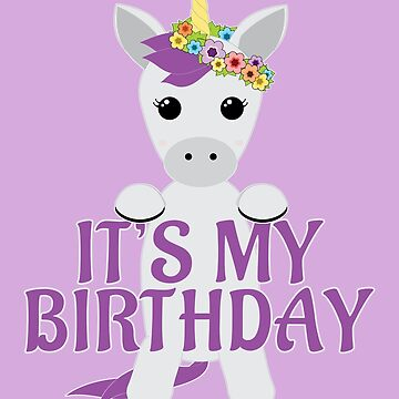 Unicorn Birthday Cute Baby Unicorn Flower Wreath Purple Text by picadillyprints