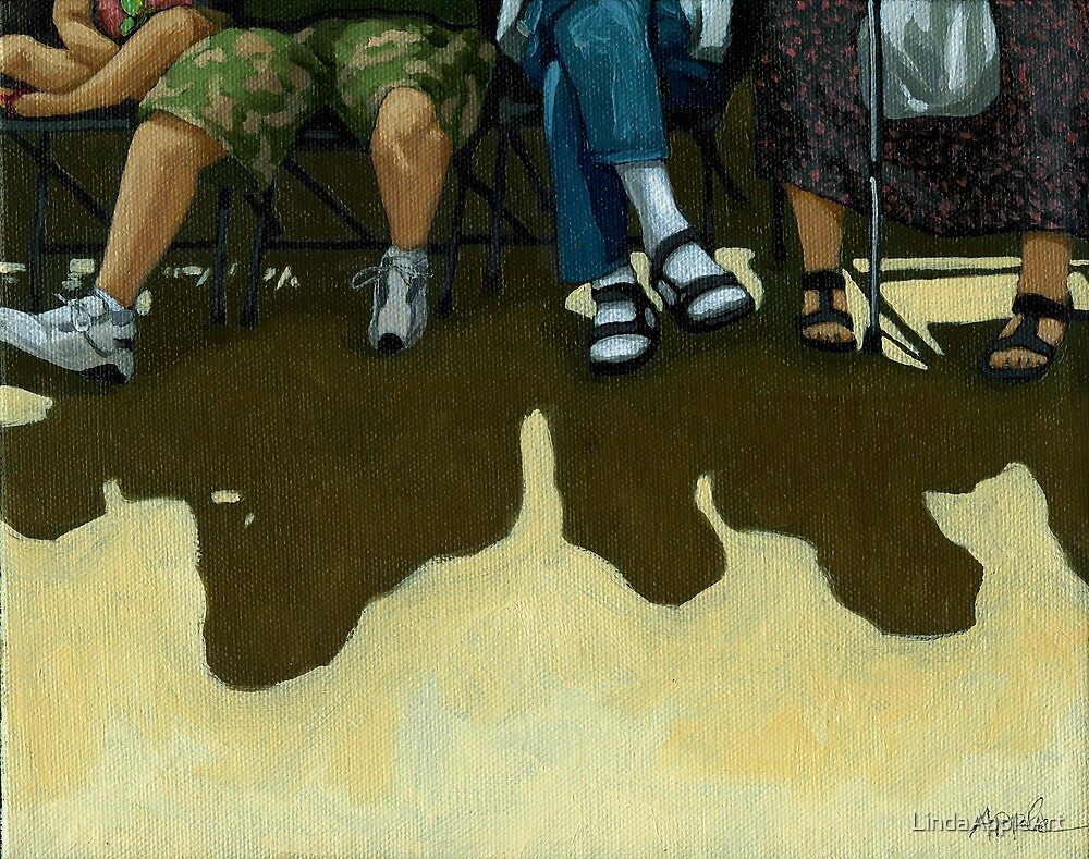 "Family Day - portrait painting -""L is for legs"" by LindaAppleArt"