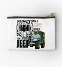 Stiles in a blue Jeep Studio Pouch