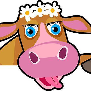 Colorful crazy cow with flowers and pink nose by Scirocko