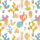 Bright exotic succulents in scandinavian style. by Dinkoobraz