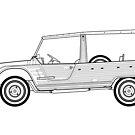 Citroen Mehari Classic Car Outline Artwork by RJWautographics