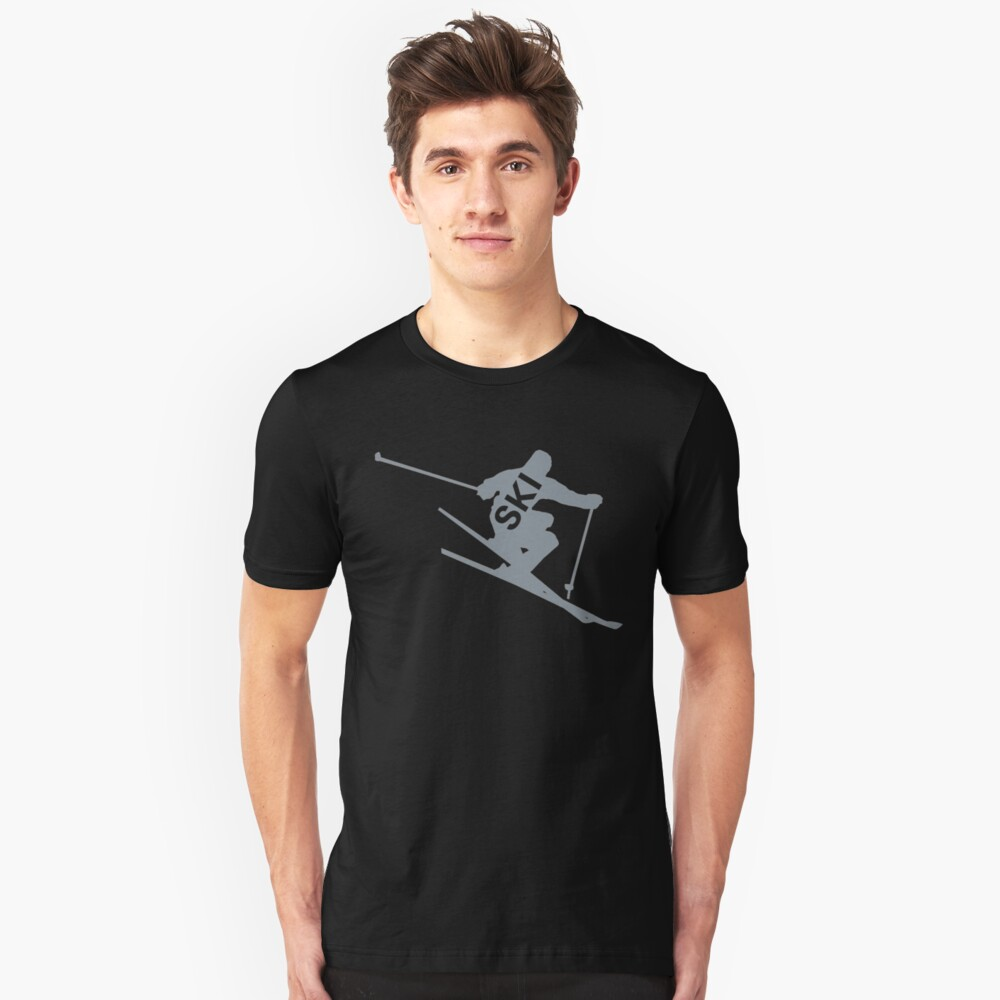 Ski T shirts and gifts, skier silhouette  Unisex T-Shirt Front