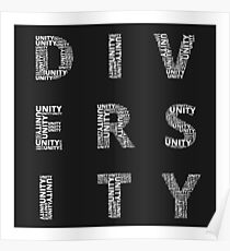 Unity in Diversity Black and White poster Poster