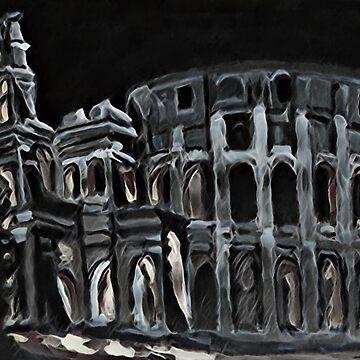 Roman Coliseum Black and White by Johnhalifax