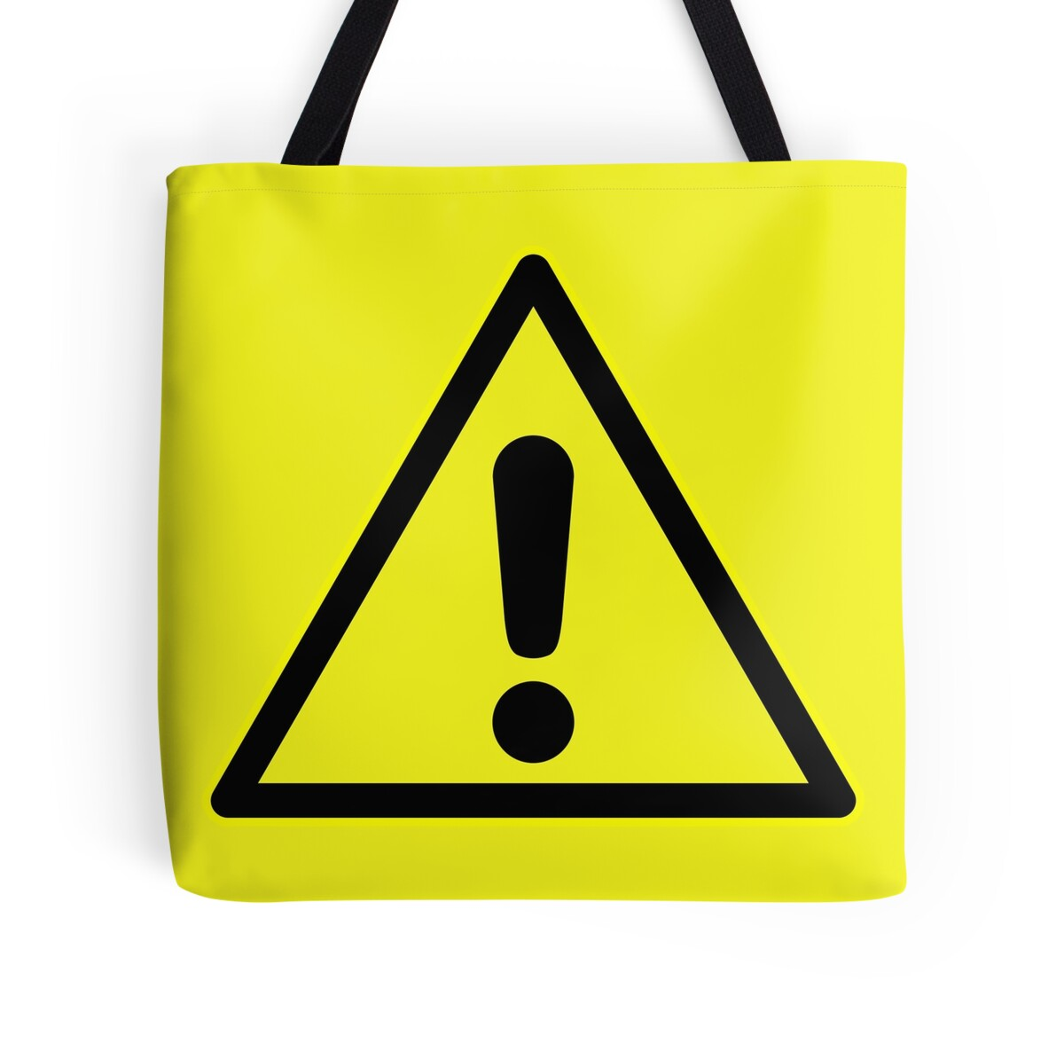 """Warning sign. Exclamation mark in yellow triangle."" Tote ...