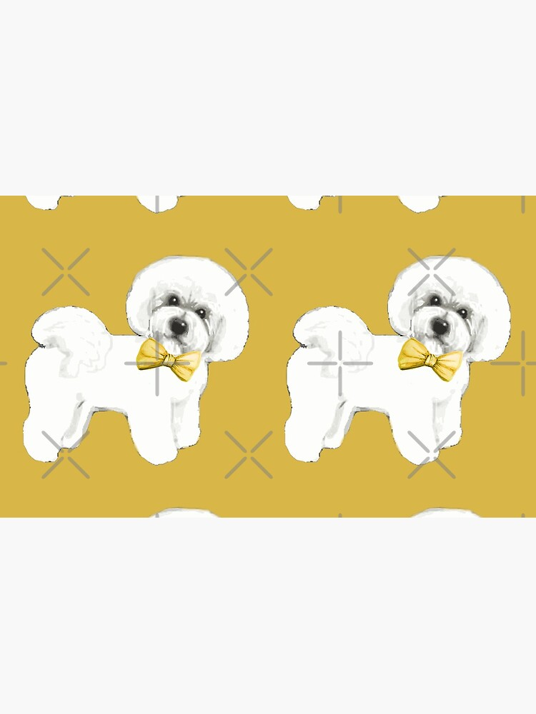 Bichon Frise on Mustard yellow, with bow by MagentaRose